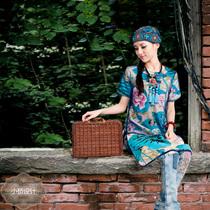 S15 读你印画原创设计夏装新款民族风女装短袖印花复古连衣裙阿卡 价格:287.00