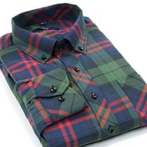 22度  2013新款秋季男装休闲衬衣 韩版修身磨毛格子男士长袖衬衫 价格:29.90