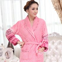 冬季女士加厚珊瑚绒夹棉睡袍套装加长棉袄浴袍睡衣 价格:175.00