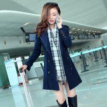 2013秋冬装新款女装韩版妮子双排扣呢大衣修身冬天中长款毛呢外套 价格:168.00