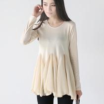 私家BEAUTI 2013夏秋衣服女装韩版雪纺网纱裙摆拼接长袖T恤TX271 价格:59.00