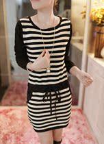 飞鱼女装秋装新款韩版潮流条纹显瘦圆领套头长袖针织连衣裙女1467 价格:98.10