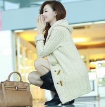 阿依莲正品2013秋装新款韩版针织衫女开衫加绒毛衣外套女修身毛线 价格:158.20