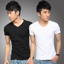 2013新款T恤 男 短袖T恤 V领 纯色半袖 男士打底衫 个性 韩版男装 价格:28.50