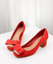 欧美风秋季新款女鞋方头绒面金属蝴蝶结高跟单鞋OL气质高跟鞋婚鞋 价格:68.00