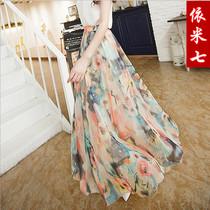 显瘦沙滩裙波西米亚半身长裙拖地碎花雪纺百褶半身裙 夏女包邮 价格:59.00