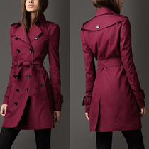 13新款 巴宝莉burberry高档酒红色修身女装风衣 专柜包装B家外套 价格:1720.00
