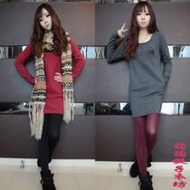秋冬新款韩版女装长袖上衣圆领打底衫女修身加厚显瘦中长款t恤 潮 价格:25.98