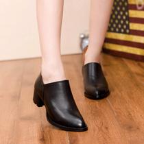 2013秋季女鞋子英伦风尖头工作鞋质感头层牛皮中跟女士单鞋职场鞋 价格:185.00