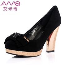 艾米奇奢华超高跟防水台时尚韩版蝴蝶结羊皮单鞋 131103050A 价格:299.40