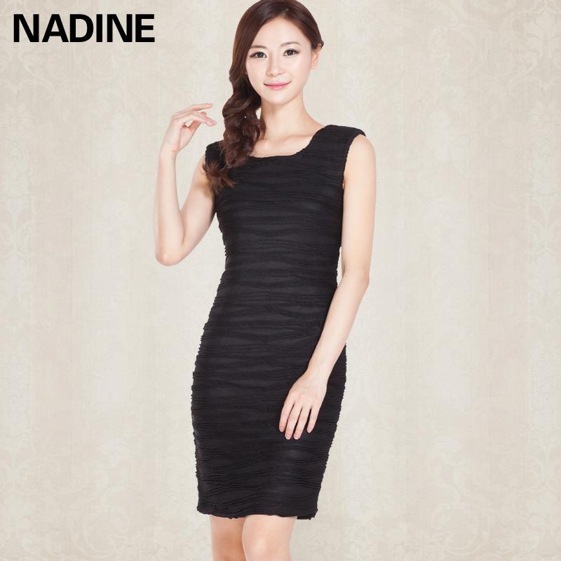 Nadine 2013秋装新款 大码修身显瘦百搭OL 无袖打底裙连衣裙 女装 价格:95.00