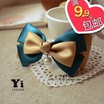 韩版复古珍珠蝴蝶结胸针 宫廷风 手工缎带胸花 领结 韩式扣B55 价格:4.45