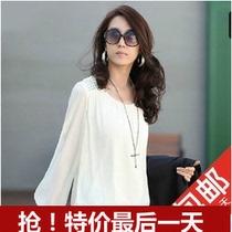 秋装新款女潮 韩版时尚泡泡袖白色大码雪纺衫宽松长袖打底衫上衣 价格:28.00