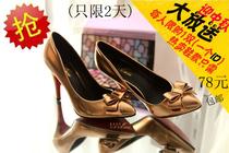 新款漆皮热卖红色婚鞋金色新娘鞋尖头高跟细跟单鞋优雅蝴蝶结女鞋 价格:78.00