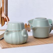 特价汝窑陶瓷旅行茶具个人办公室易泡壶快客杯一壶一杯功夫套装 价格:48.05