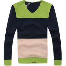 杰克琼斯羊毛衫男装韩版潮针织衫男撞色毛衣男v领线衫休闲线衣5 价格:98.00