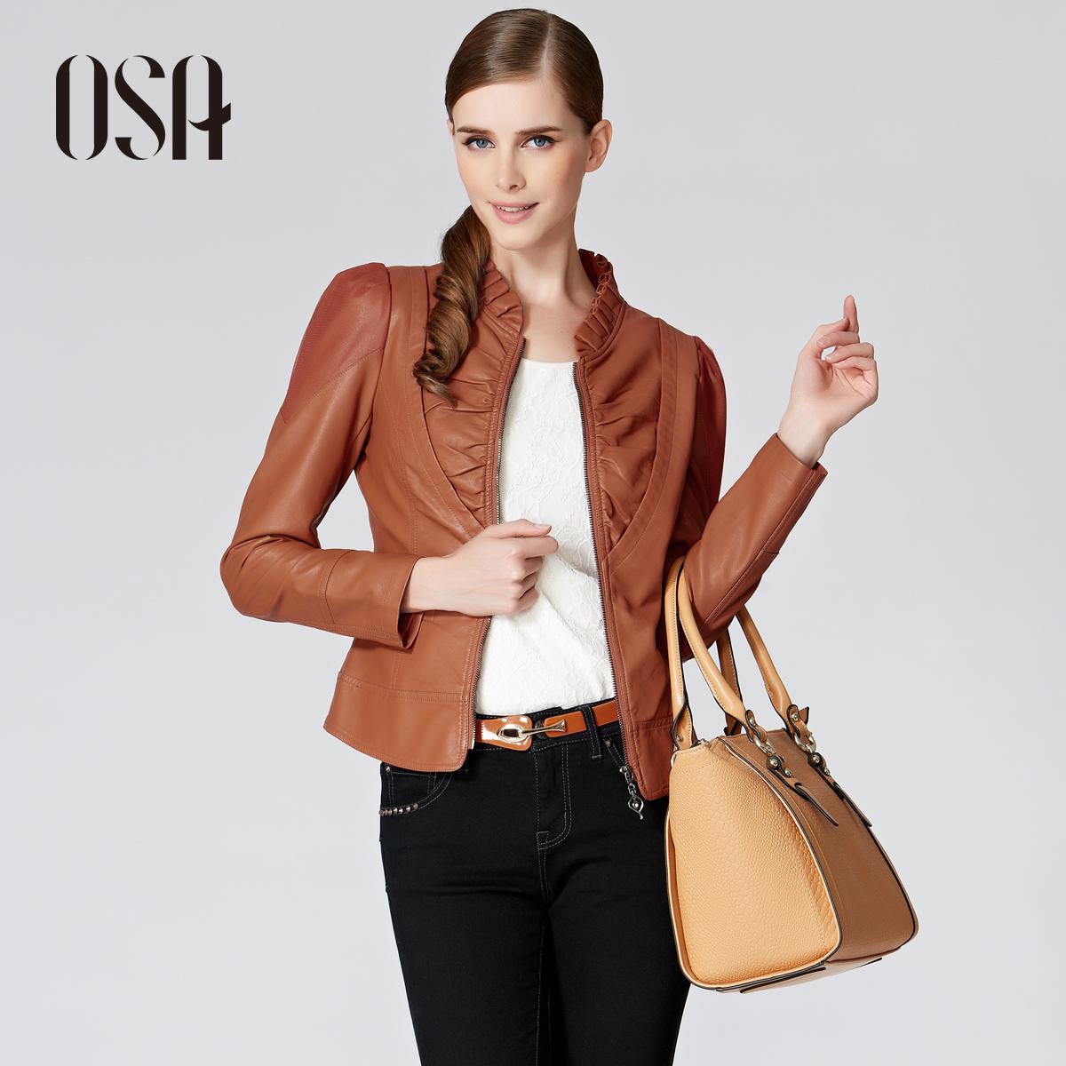 OSA2013秋季新款女装外套上装修身立领长袖抽褶PU皮衣 G35065 价格:328.00