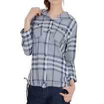 2013夏季新款 增致牛仔 女士格子中袖带帽休闲衬衫9387756 包邮 价格:194.00