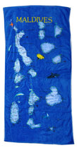 外贸原单 maldives 马尔代夫 地图图案浴巾 100%纯棉割绒沙滩巾 价格:49.00