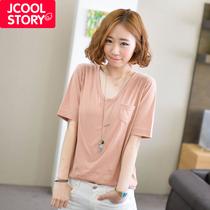 时尚权威2013韩国夏装新款纯色口袋V领宽松短袖t恤女韩版女装潮 价格:49.00