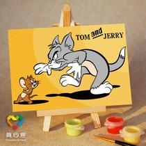 真心意 儿童数字油画 diy手绘 迷你卡通动漫 猫和老鼠 10*15 价格:9.80