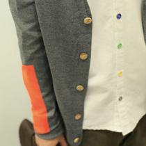 秋天新款!蒙太奇色块撞色插肩袖V领毛衣开衫 日系森系学院针织衫 价格:89.00
