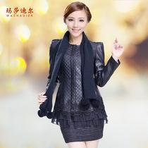 玛莎迪尔 2013秋季新款韩版女装 中年大码女装PU皮衣中长款外套女 价格:179.00