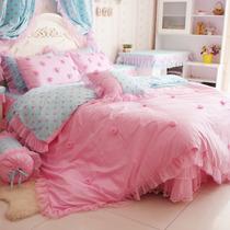 花开木木 床上用品 纯棉四件套 床品套件 公主床品 粉粉波点 价格:299.00