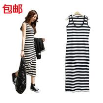 新款无袖黑白条纹无袖背心连衣裙长裙超长韩版条纹修身显瘦打底裙 价格:25.00