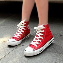 理想主义经典款式  韩版情侣款 李孝利最爱 纯色高帮帆布鞋 女鞋 价格:35.00