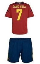 spain shirt 12-13 home kids/baby European Cup 7#DAVID VILLA 价格:65.00