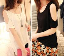 亏本促销 夏装 糖果色宽松露肩 纯色莫代尔短袖t恤 韩版上衣 女款 价格:18.90