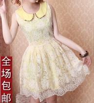 衣服女装小清新夏天雪纺衫公主裙娃娃领欧根纱蓬蓬裙韩版连衣裙子 价格:49.90