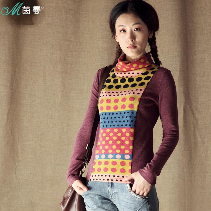 茵曼 秋装 高领打底衫 文艺直筒女装小衫 波点长袖T恤 女打底衫 价格:99.00