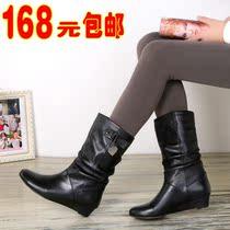 清仓价!2013短靴 坡跟耐磨橡胶平底真皮中筒靴平跟大码女靴 价格:168.00