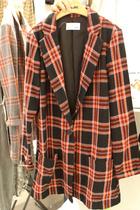韩国东大门代购T- FRIENDS 秋季女装小西装格纹翻领长袖女西服 价格:390.15