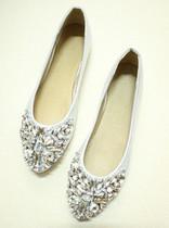 2013夏秋季新款韩版单鞋闪亮水钻婚鞋平底鞋金色银色平跟休闲女鞋 价格:99.00