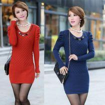 2013秋装新款韩版女装中长款修身泡泡袖针织衫圆领毛衣连衣裙外套 价格:55.00