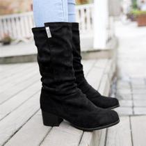 2013年春秋新款复古中筒靴 粗跟圆头金属装饰简约骑士靴大码 女 价格:135.00