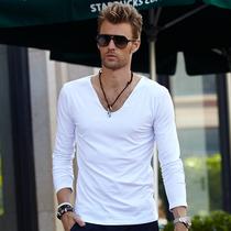 个性鸡心领 男士长袖T恤 纯色V领 男装白色打底衫 欧美风纯棉男装 价格:48.00