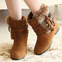 2013平底内增高短靴女靴春秋圆头中跟中靴单靴马丁靴加棉鞋毛毛靴 价格:92.00