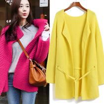 细节实拍 韩系糖果色菠萝针织宽松系带中长款毛衣外套粗毛线开衫 价格:80.50