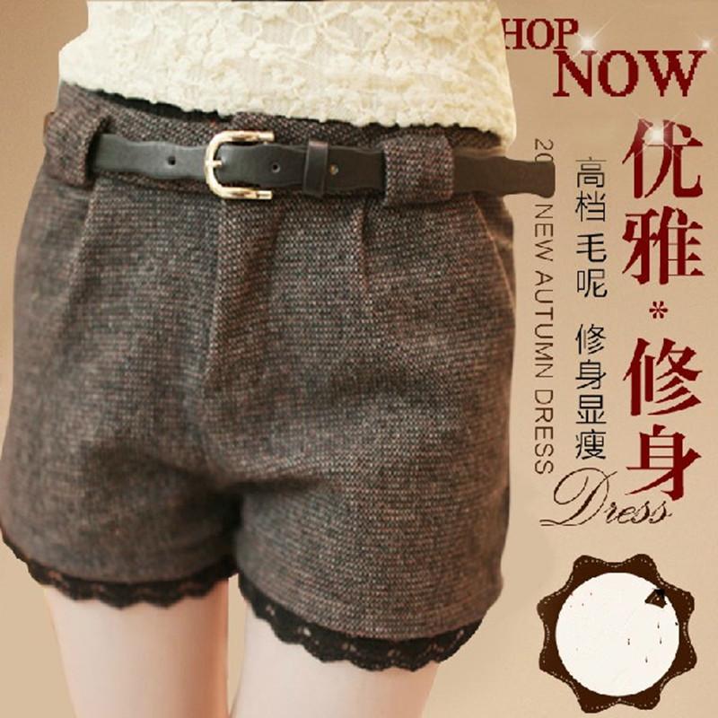 【天天特价】2013春装新款韩版潮赠腰带时尚百搭修身蕾丝格子短裤 价格:42.00
