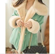 包邮韩版女装冬装时尚双排扣羊绒毛呢大衣糖果色保暖棉衣棉服外套 价格:128.00