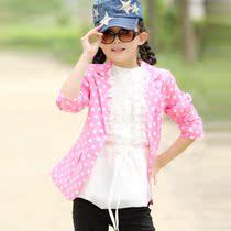 童装2013新款大童儿童小西装女童春秋装圆点韩版长袖时尚外套西服 价格:95.00