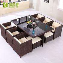 藤椅 休闲露台咖啡酒吧阳台户外桌椅组合套件藤椅茶几五件套家具 价格:1489.60