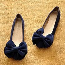 2013新款秋韩版公主平底鞋圆头船鞋蝴蝶结平跟单鞋女瓢鞋大码女鞋 价格:54.51