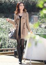大码风衣女中长款修身外套防风 欧美2013新款韩版女装秋冬 包邮 价格:165.00