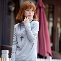 金缕梅韩版女装百搭气质高领堆堆高领OL打底衫大码修身长袖T恤 价格:26.60