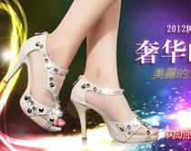 检察官公主鞋子新婚串珠高跟凉鞋 有34---40码 明星水钻新款凉鞋 价格:88.00